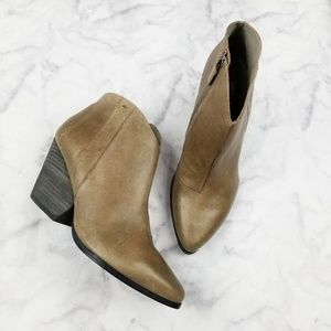Eileen Fisher|Taupe Leather Pointed Toe Booties